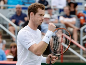 Andy Murray, of Great Britain, celebrates a point against Gilles Muller, of Luxembourg, during round of 16 tennis action at the Rogers Cup in Montreal on Thursday, August 13, 2015. THE CANADIAN PRESS/Paul Chiasson